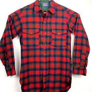 Pendleton Mens Button Up Shirt Red Green Plaid USA